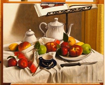 Natura morta con frutti finti - Olio su tela - 50 x 40 cm