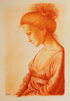 Ragazza - Sanguigna su carta avorio - 42 x 30 cm
