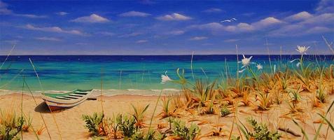 Armonia in blu per Fabiana - Olio su tela - 65 x 30 cm