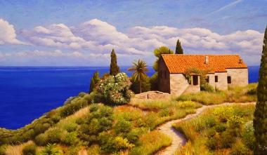 Casa sul mare - Olio su tela - 50 x 35 cm