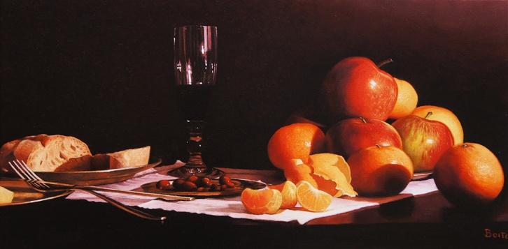 Natura morta al lume di candela - Olio su tela - 60 x 30 cm