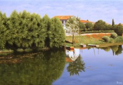 Canale con barche - Olio su tela - 50 x 35 cm