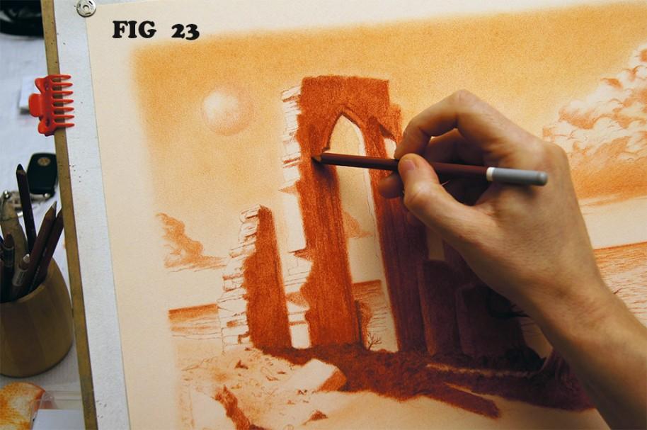 Realizzare un disegno di paesaggio fantastico a sanguigna for Fantastici disegni di garage